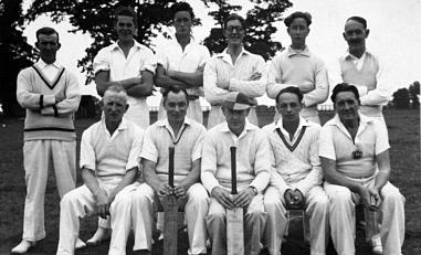 The village Cricket Team pictured in The Grove about 1950