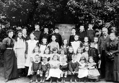 The pupils at Aston Abbotts' village school pictured in the early 1900s. The headmaster on the right is Mr Harrison