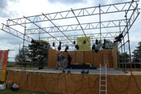 The stage on Friday morning - before the roof and equipment was installed